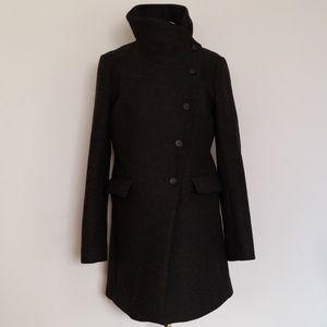 AllSaints Grey Wool Fuse Pea Coat 10 US or 14 EU